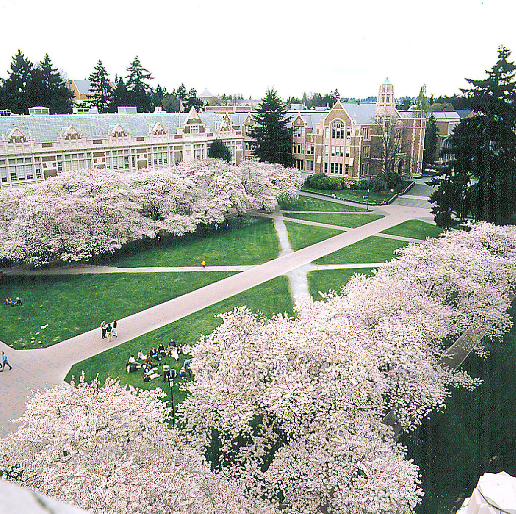 View of the University of Washington Huskies campus in Seattle, Washington.