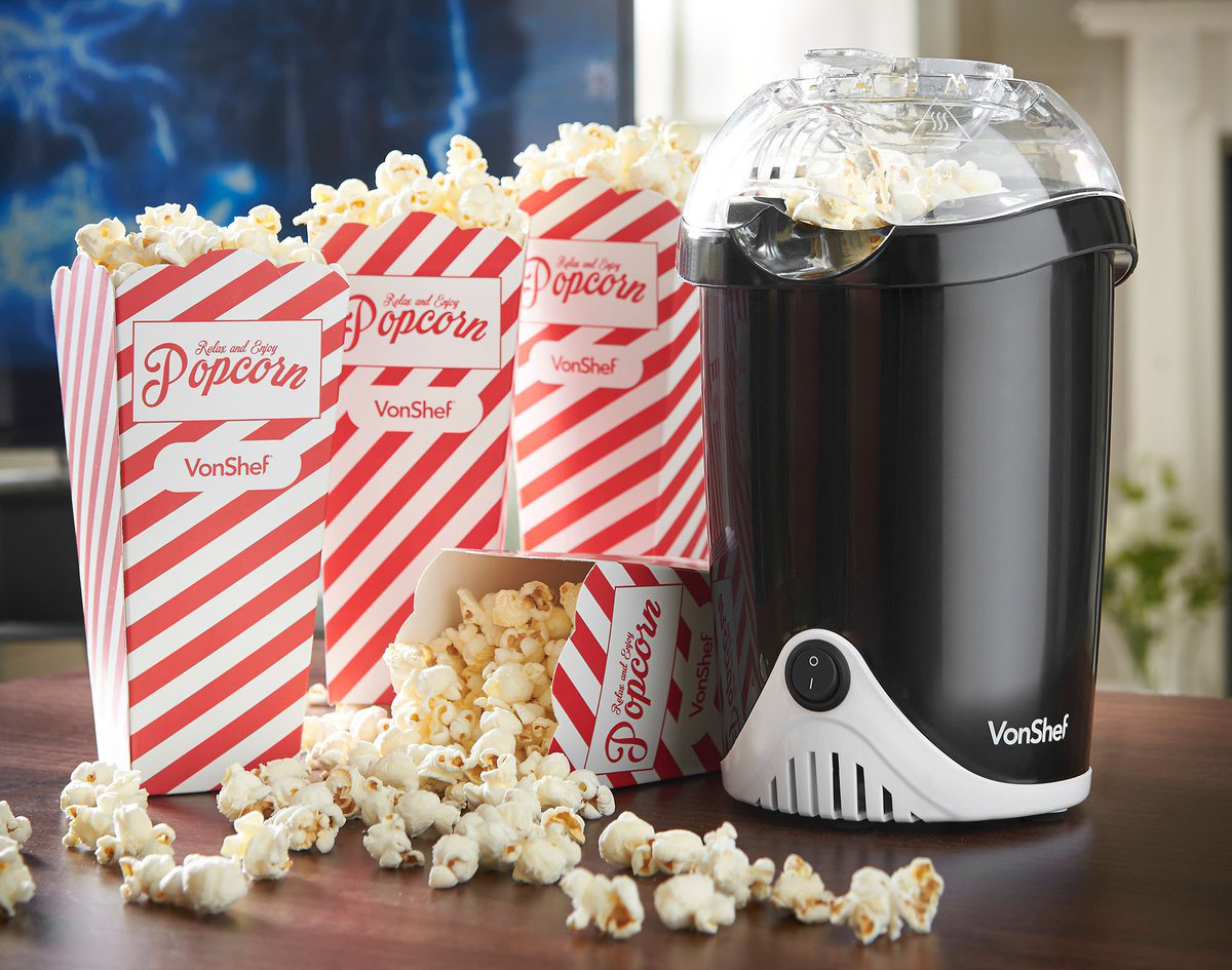 VonShef popcorn maker is shown with cooked popcorn