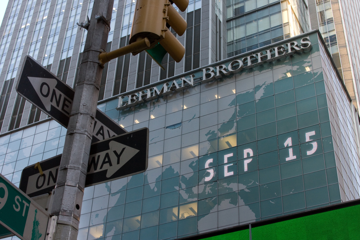 This photo, which includes a stop light facing the Lehman Brothers sign and a one way sign, was taken from 49th street and 7th Avenue.
