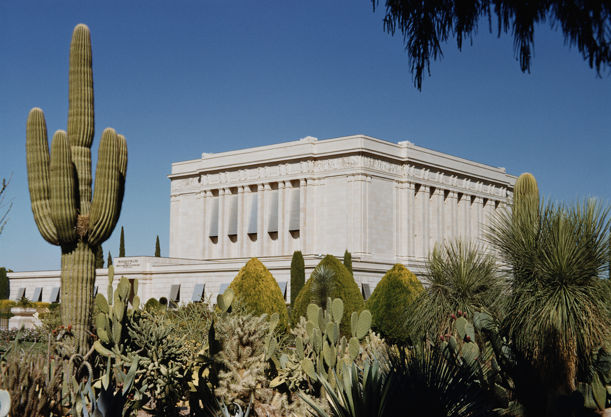 The Mesa Arizona Temple, a Mormon temple in Mesa, Arizona