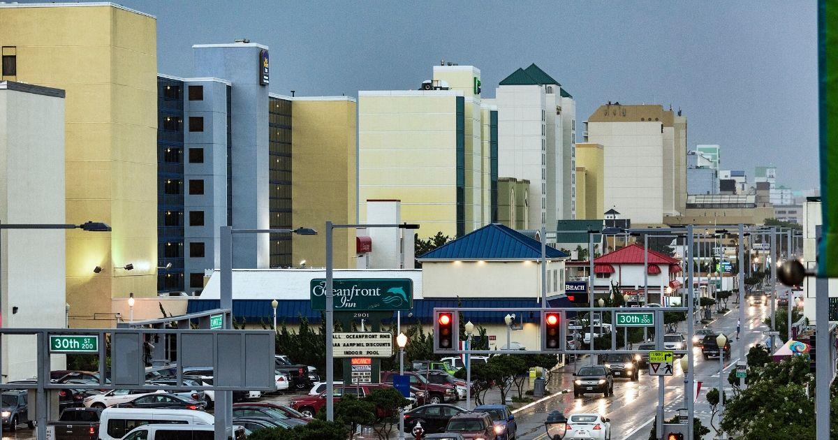 Hotels along Atlantic Avenue in Virginia Beach.