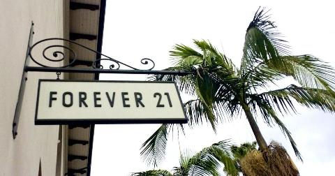 A Forever 21 sign on a building