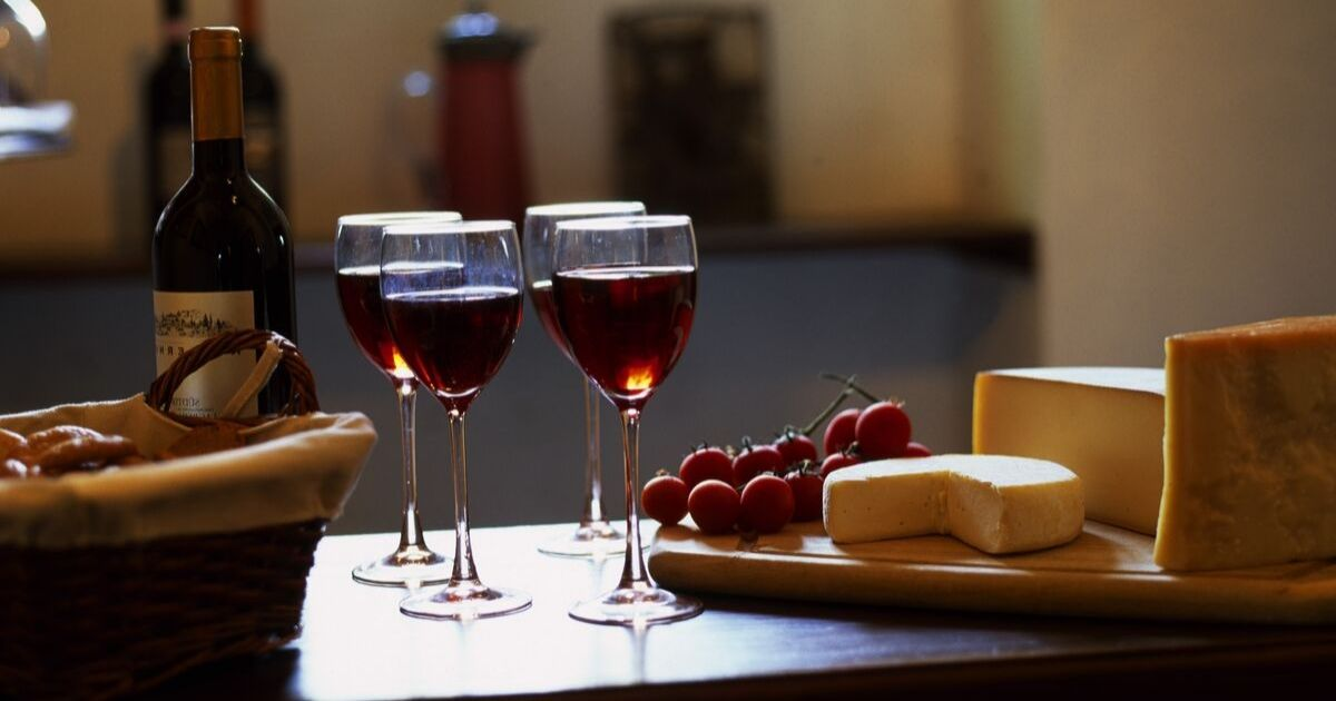 German wine and cheese are displayed on a table