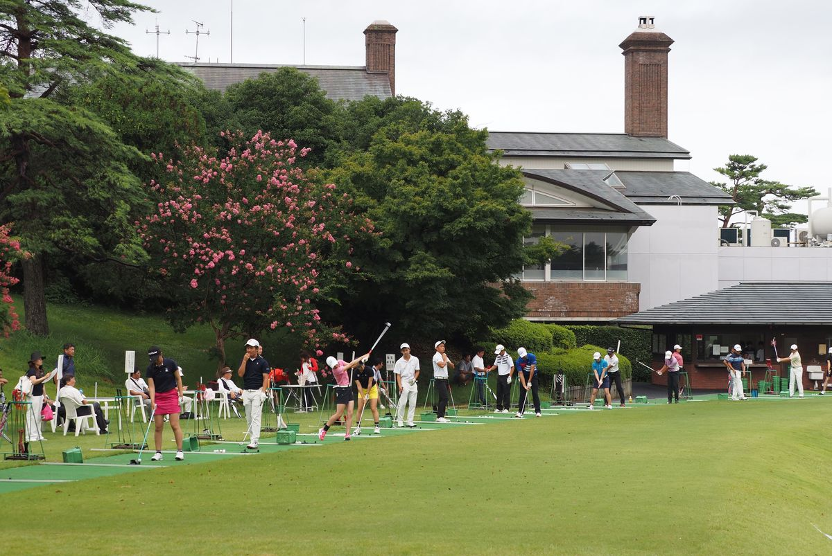 General view of the practice driving range and clubhouse during the Japan.