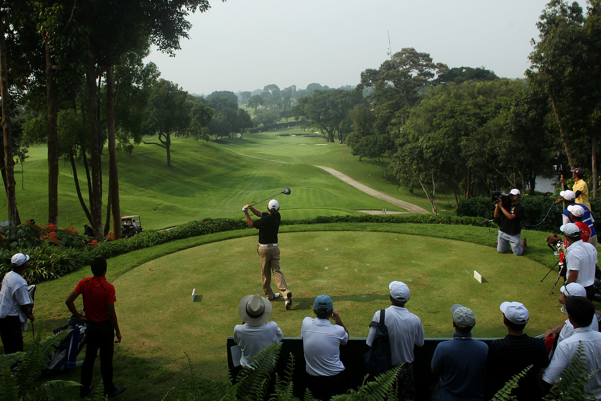 Cameron Smith of Australia plays from the 12th tee during day three of the 2011 Asian Amateur Championship at the Singapore Island Country Club.
