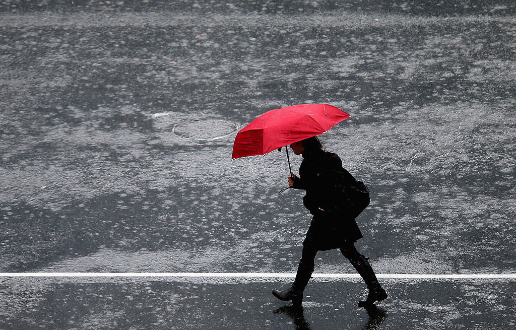 Woman walking in the rain with an umbrella