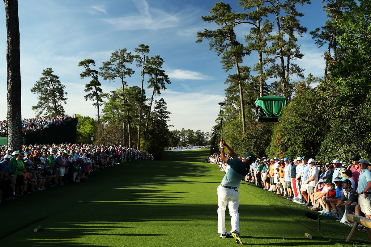 Sergio Garcia of Spain plays his shot from the 18th tee at the Augusta National Golf Club.
