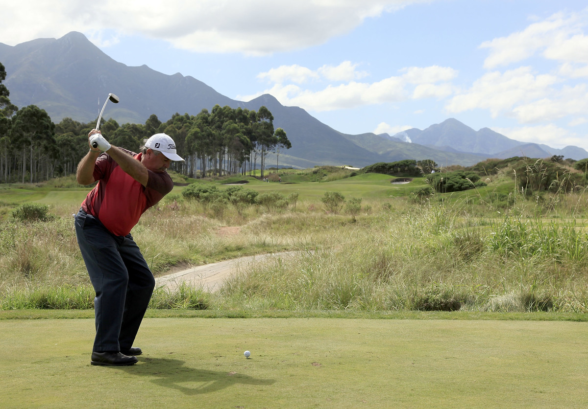 Angel Franco of Paraguay plays golf in the Links at Fancourt.