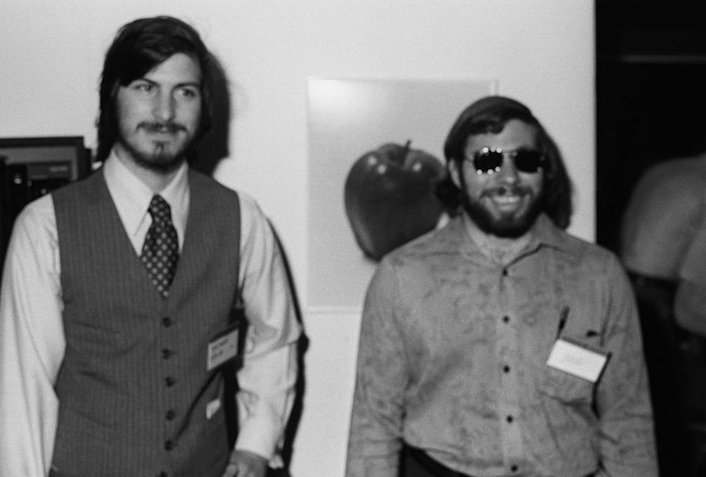 American businessmen and engineers Steve Jobs (left) and Steve Wozniak