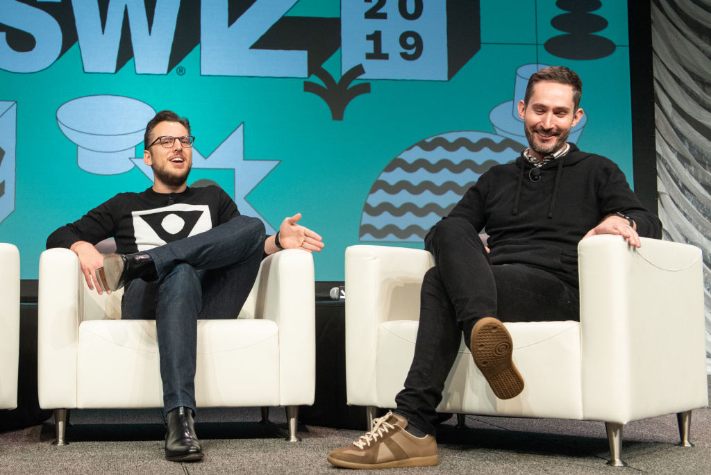 Instagram co-founders Mike Krieger (L) and Kevin Systrom are interviewed