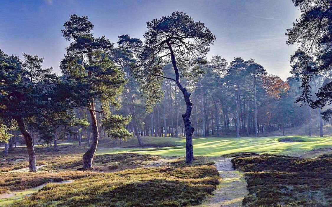 View of the 13th hole at the Morfontaine Golf Club features pine trees and a trail.