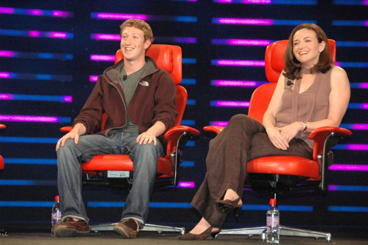 Sandberg and Zuckerberg at an event