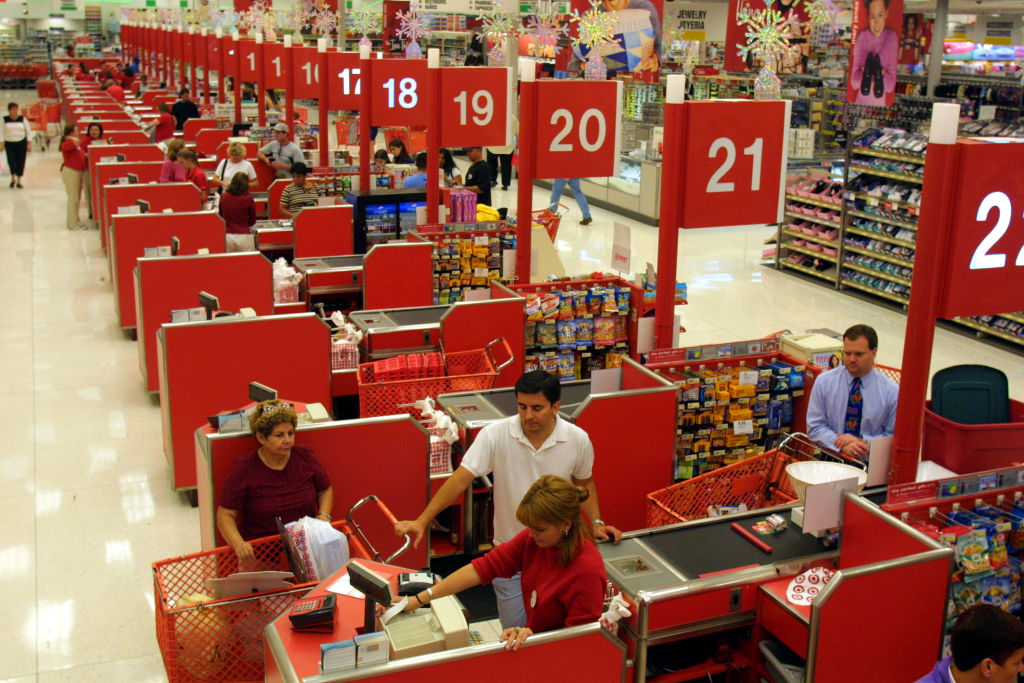 Shoppers purchase their items at the checkout counter in the Target department store