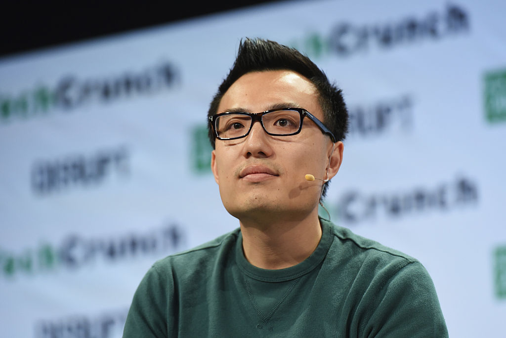 co-founder and ceo tony xu onstage during techcrunch