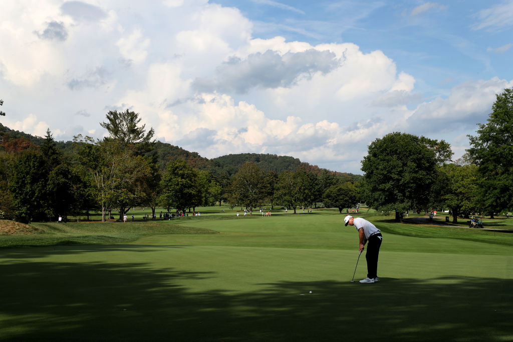 Nate Lashley of the United States putts on the 11th green during the third round of A Military Tribute at The Greenbrier
