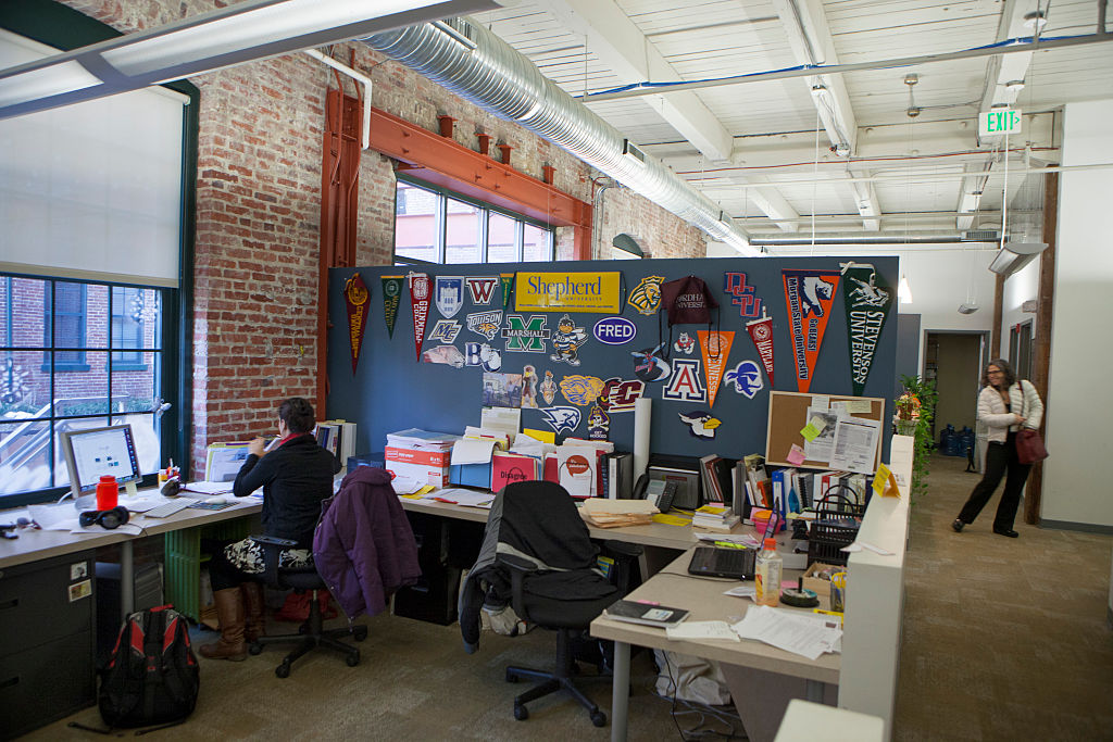 People work in one of the nonprofit offices at Miller's Point