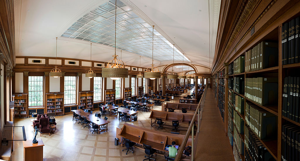 A panoramic view of Baker Library on the campus of Harvard Business School