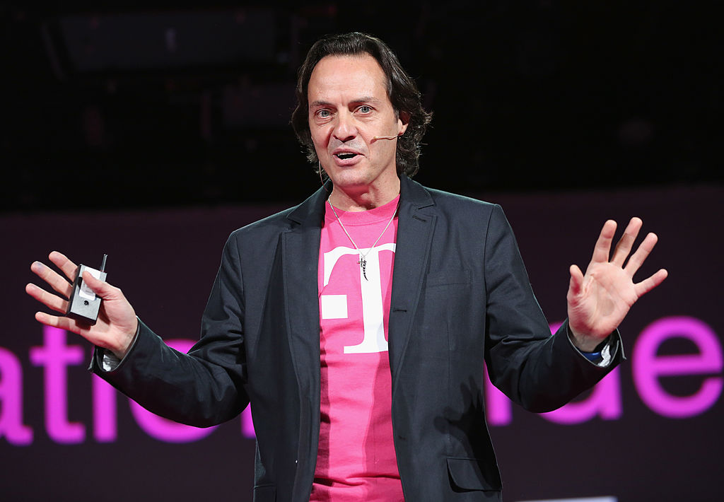 John Legere, CEO and President of T-Mobile USA, makes an announcement