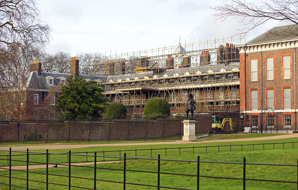 view of Apartment 1A at Kensington Palace which is covered in scaffolding whilst refurbishment works are being carried out