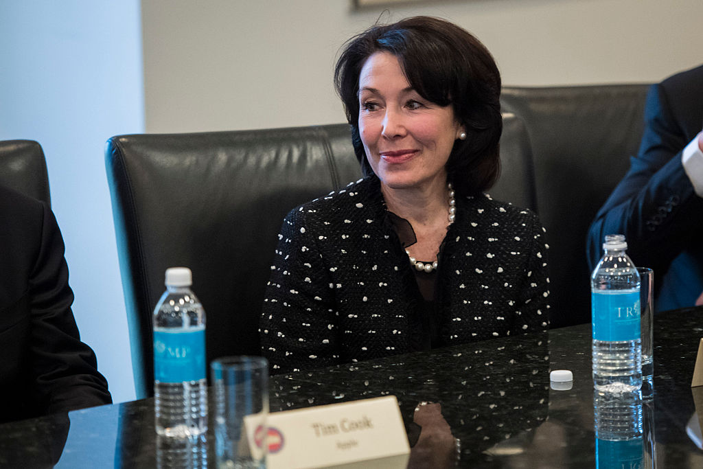 Oracle CEO Safra Catz listens during a meeting with technology industry leaders