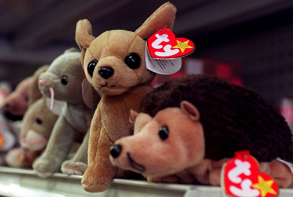 beanie babies on a shelf in a store