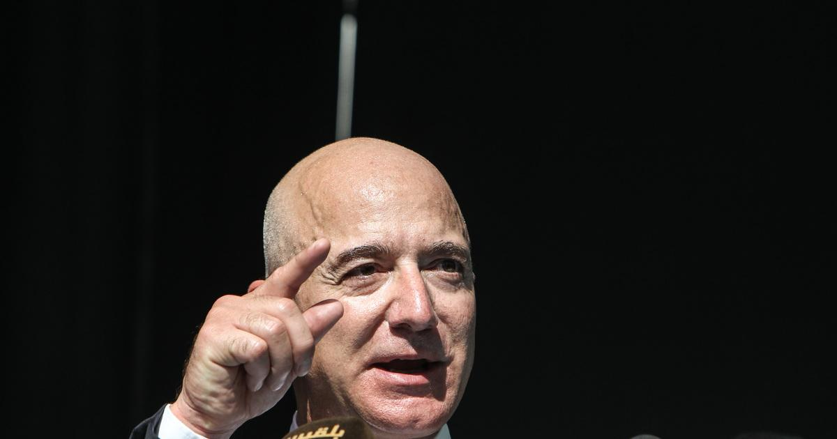 : CEO of Amazon and Washington Post owner Jeff Bezos speaks during an event