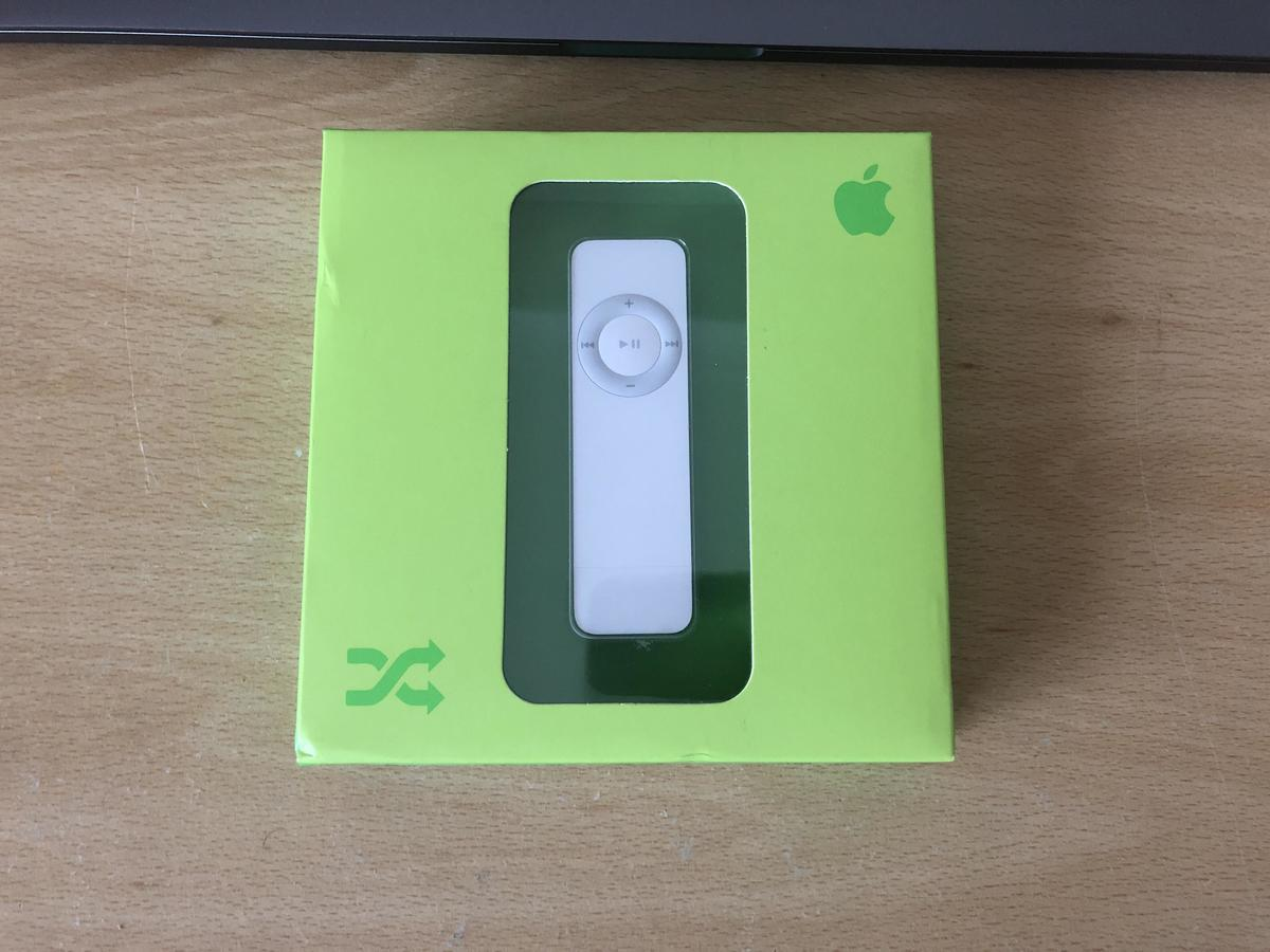 a first generation ipod shuffle in the box