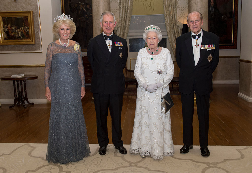 Camilla, Duchess of Cornwall, Prince Charles, Prince of Wales, Queen Elizabeth II and Prince Philip, Duke of Edinburgh pose