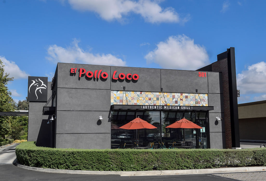 A gray El Pollo Loco building is pictured.