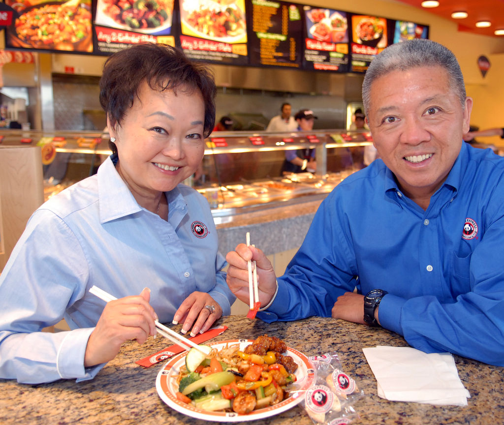 The owners of Panda Express enjoy a meal.