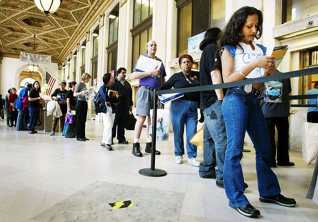 waiting in line to mail income tax forms
