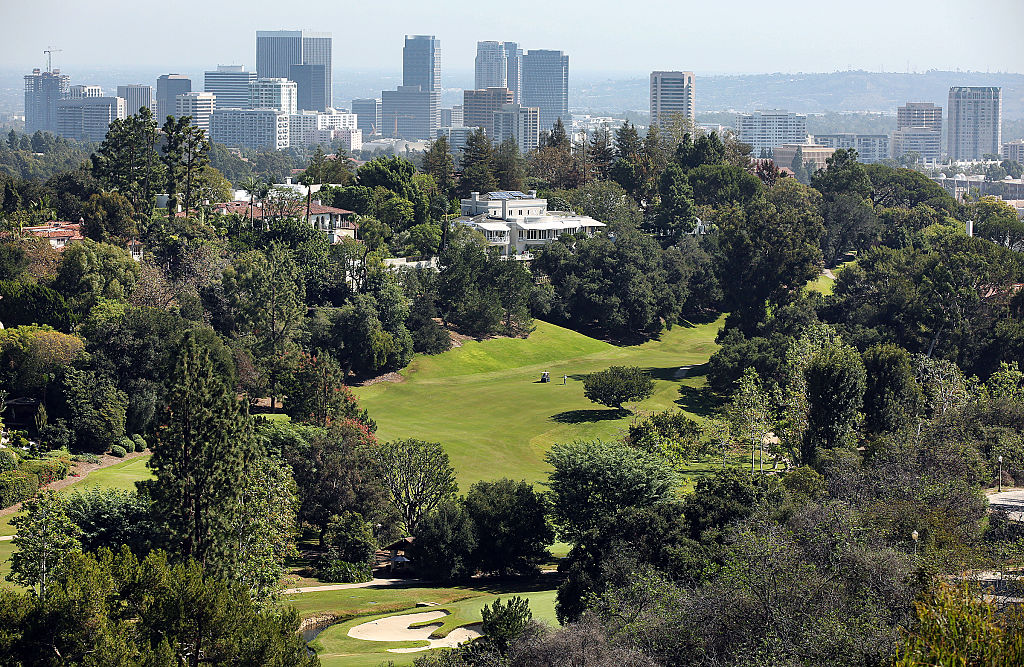 Bel-Air Country Club located in the Bel Air neighborhood of Los Angeles with Century City in the background