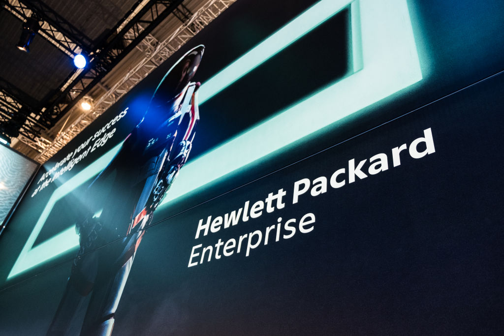 Logo of Hewlett Packard. seen at the Mobile World Congress.