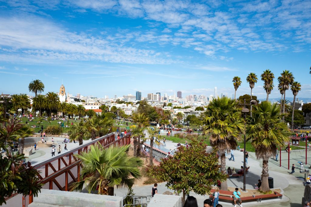 Aerial view of a portion of the Helen Diller Playground in Dolores Park, an iconic public park in the Mission District neighborhood of San Francisco