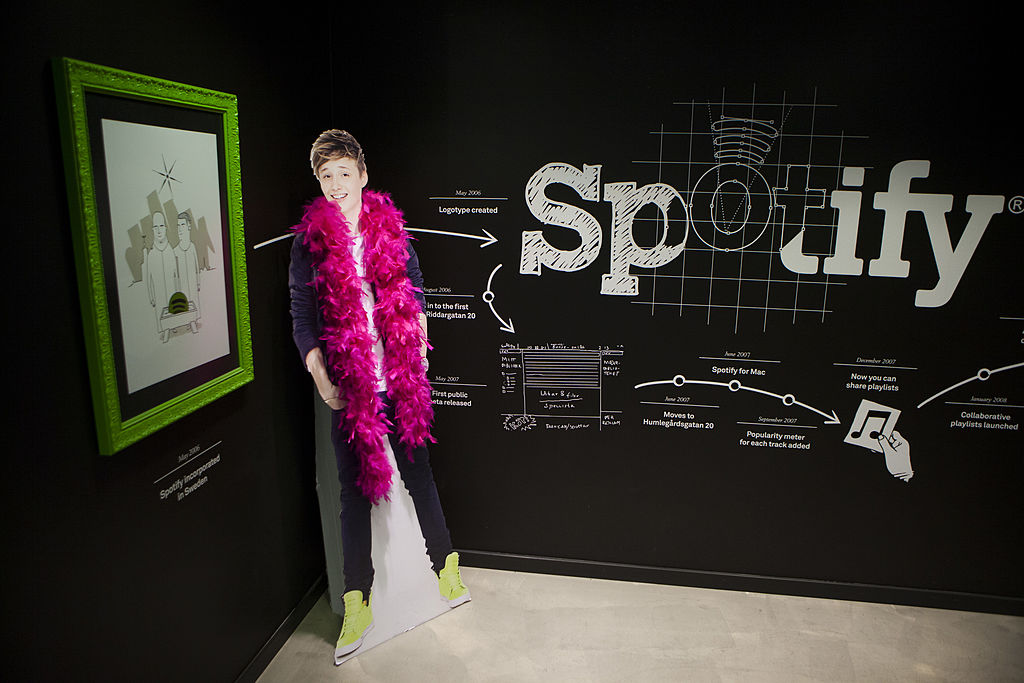 A timeline of Spotify's history begins in the entryway to Spotify headquarters