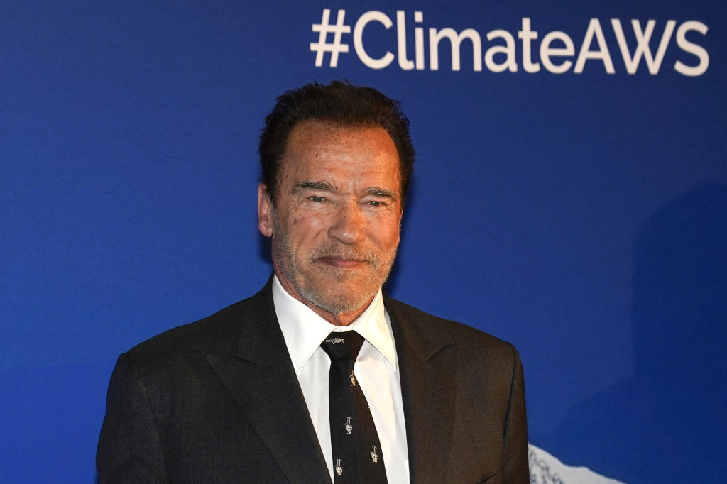 arnold schwarzenegger wearing a suit at a red carpet event