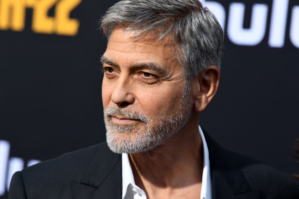 george clooney with a beard on the red carpet