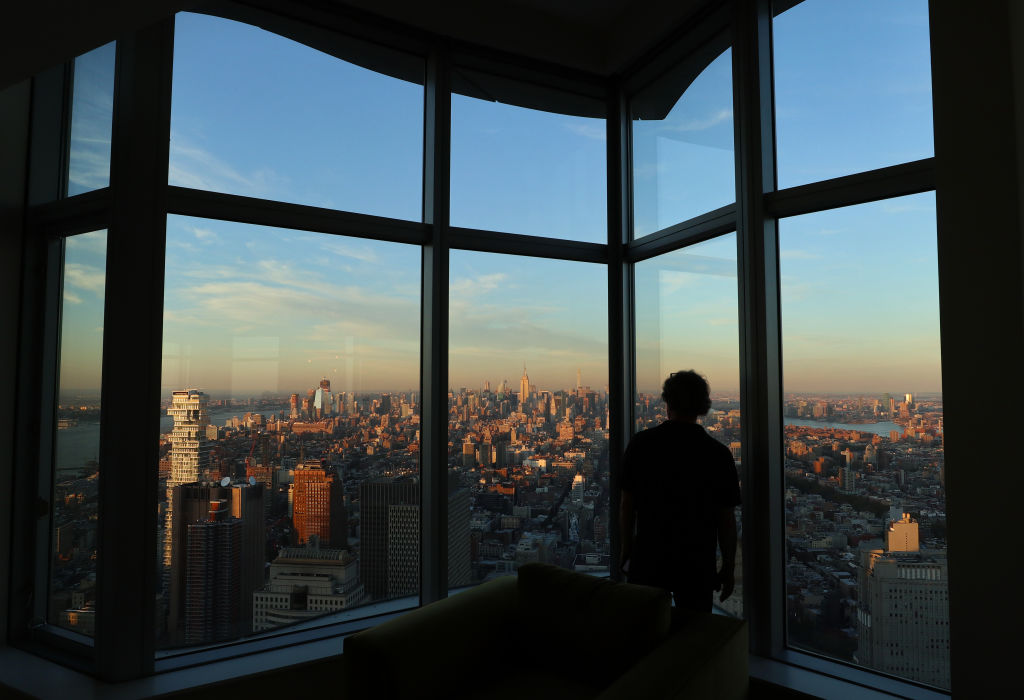 The view at sunset looking north from a 76th floor penthouse apartment