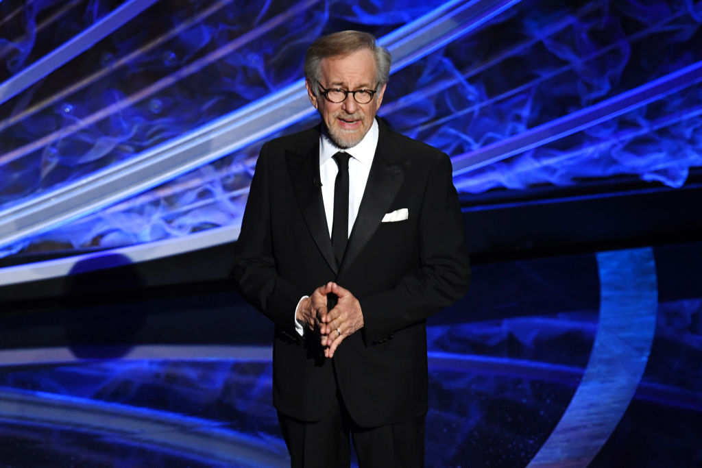 steven spielberg speaking on stage at the oscars