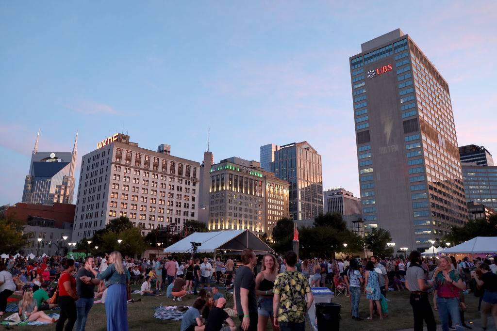 Downtown Nashville seen during Live On The Green at Public Square Park