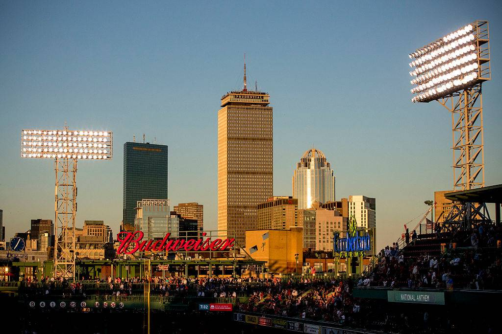 The city skyline is shown during a game between the Boston Red Sox and the Tampa Bay Rays