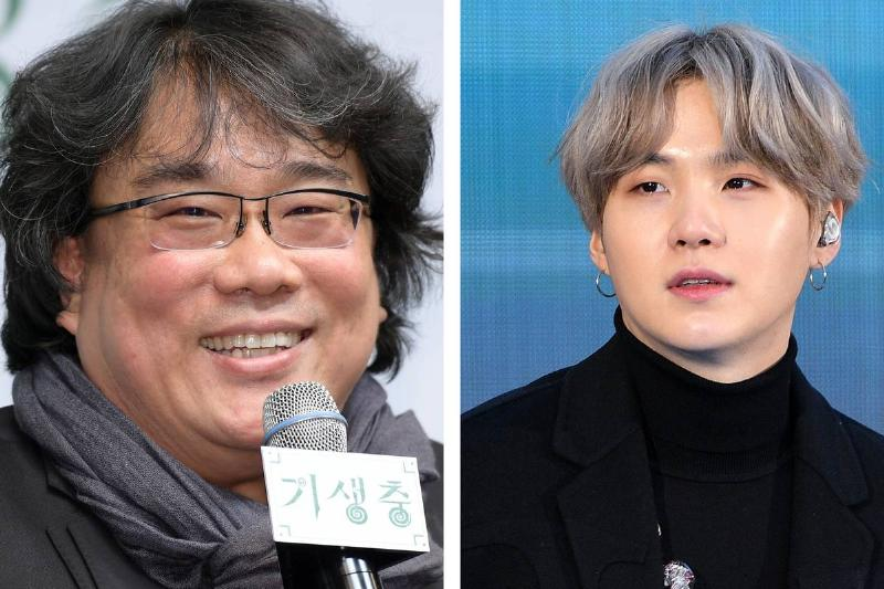 A split image shows director Bong Joon-ho (left) and BTS member Suga (right).