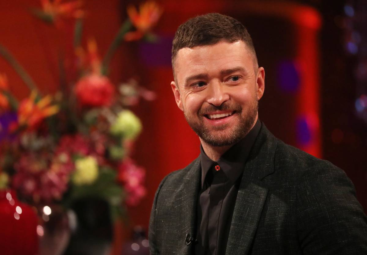 Justin Timberlake smiles during the filming for the Graham Norton Show.