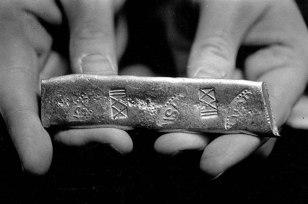 A gold bar from a wreck, discovered in the Florida Keys.