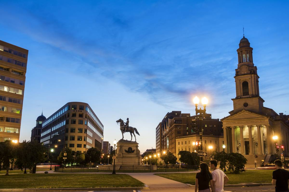 Washington DC, Thomas Circle, George Henry Thomas, Union Army, equestrian statue and skyline at dusk