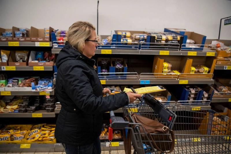 Anne Lee gets groceries at ALDI in Binghamton, NY