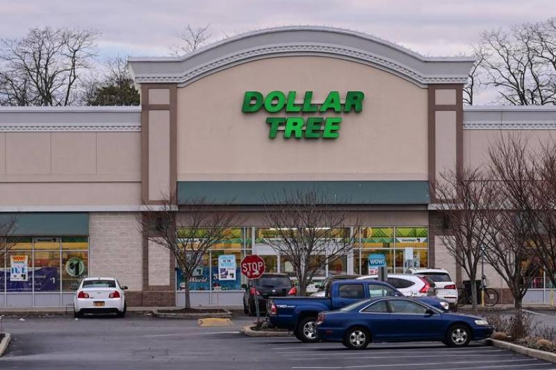 A photo shows a parking lot of a Dollar Tree.