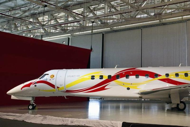 Jackie Chan's Embraer Legacy 650 is seen.