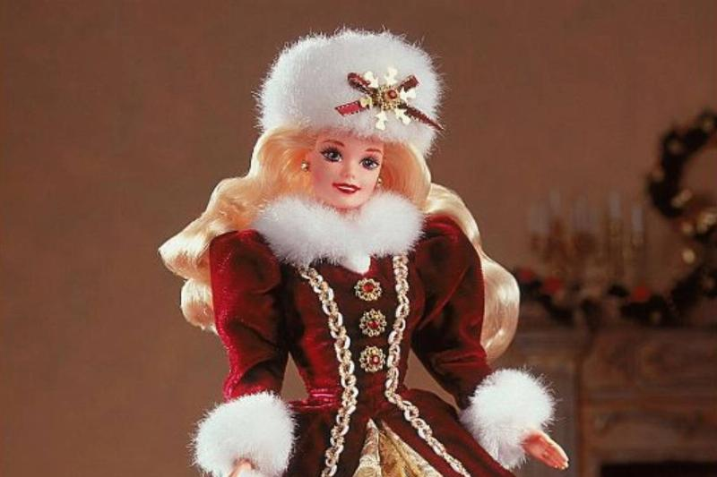 THE 1996 Happy Holidays Barbie is seen.