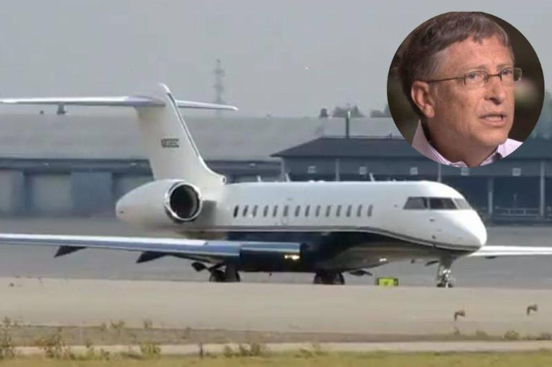 A photo of Bill Gates appears above his Bombardier private jet.